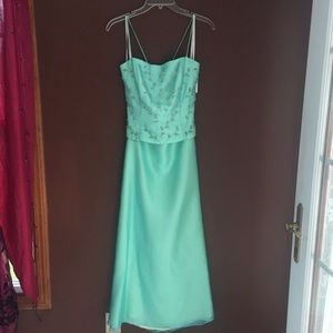 Teal Blue Two Piece Formal Dress